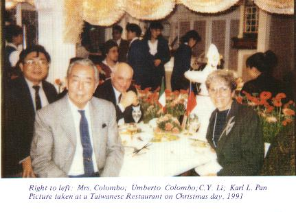 Right to left: Mrs. Colombo; Umberto Colombo; C.Y.Li; Karl L. Pan Picture taken at a Taiwanese Restaurant on Christmas day, 1991.